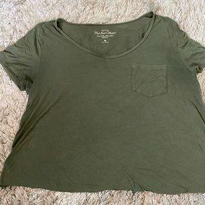 Olive Green Cropped Hollister V neck tshirt